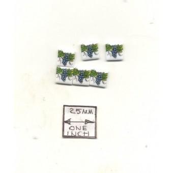 Tiles - Grapevine Porcelain - miniature 1.791/5 Reutter 1/12 scale 6pcs/pk