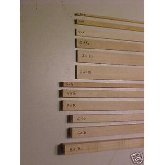 "4""x8"" Model Lumber 1/12th Scale Dollhouse 4pc 8ft Beam"