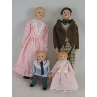 "Porcelain Doll Family   miniature  1"" scale  4pc D6816"