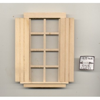 Window - 8-light & Shutters - 404AS wooden dollhouse miniature 1:12 scale USA