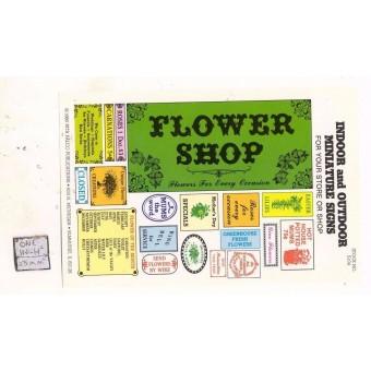 Flower Shop / Store Signs -  S104 - 1/12 Scale dollhouse miniature -