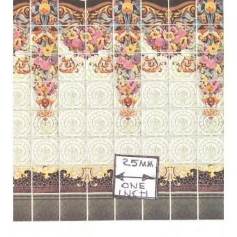 Art Nouveau Wall Tile Sheet  34443 dollhouse 1pc World & Model card stock