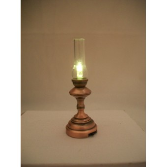 Light - LED Copper Hurricane Lamp 2325 replaceable battery dollhouse 1/12 scale