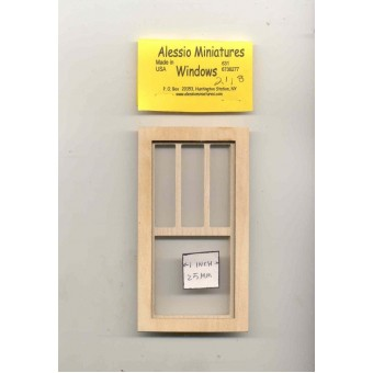 Window - 3 over 1 - 2118 wooden dollhouse miniature 1:12 scale USA made