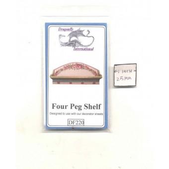 Kit - Four Peg Shelf  DF220 dollhouse furniture kit Dragonfly 1/12 scale wood