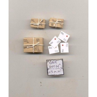Parcels / Packages & Letters - 1/12 scale dollhouse miniature IM65483 metal 7pcs