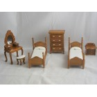 Bed Room Set T6669 Vanity Mirror 2 Beds miniature dollhouse furniture wooden 6pc