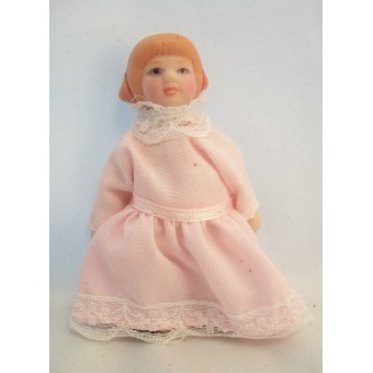 "Porcelain Doll Victorian Girl dollhouse miniature  1"" scale  1pc O6816 01819"