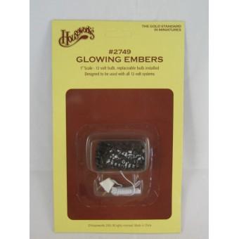 Glowing Ember hot coals light dollhouse miniature #2749 1/12 scale