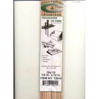 "Dowel Rods 1/4"" (.25"")  - 12"" Handi Craft Dowels - 10/pk - hardwood"