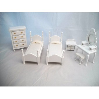 Bed Room Set T5669 Vanity Mirror 2 Beds dollhouse furniture 1/12 scale 6pc wood