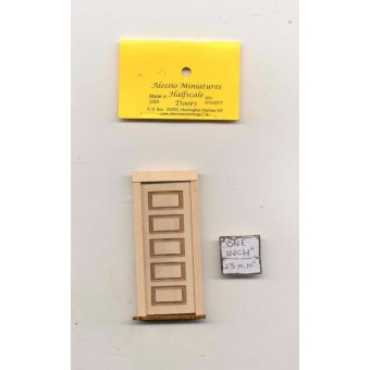 Half Scale -  5-Panel Door 2311HS dollhouse wooded miniature 1/24 scale USA