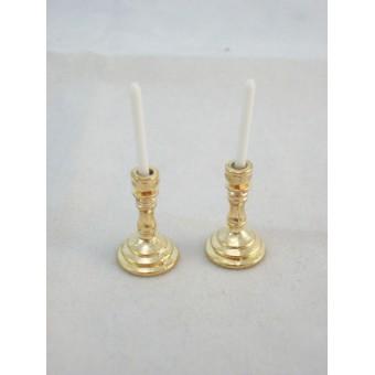 Brass Candlesticks metal dollhouse miniature G0172 2pc 1/12 scale