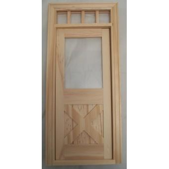 """Cross Buck Door w/ Transom 1"""" scale miniature dollhouse  Houseworks  #6012"""