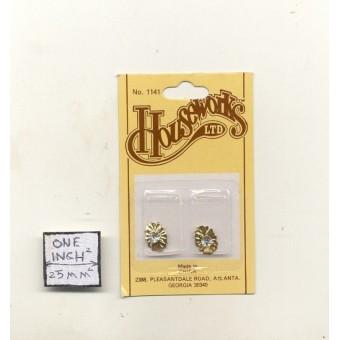 Knob - Brass & Crystal  1141 miniature dollhouse hardware  Houseworks 1/12 scale