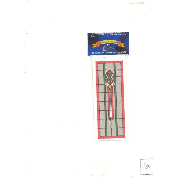 Simulated Stain Glass #SLIM19 dollhouse miniature fits door HW6033 1//12 scale