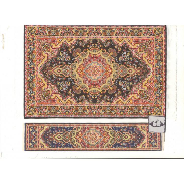 Rug Set 13mr Runner Miniature Dollhouse Woven Fabric Carpet 2pc Turkish
