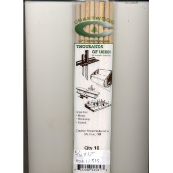 "Dowel Rods 3/8""  - 12"" Handi Craft Dowels - 5/pk - hardwood .375 dia."