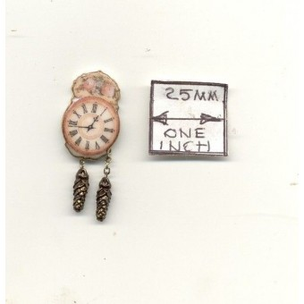 Antique Wall Clock  1.405/8 miniature dollhouse furniture 1/12 scale Reutter