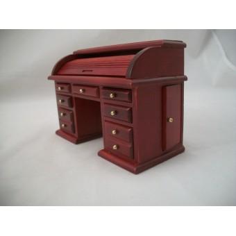 Desk Roll Top Miniature Dollhouse Wooden Furniture