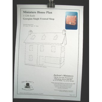 Dollhouse Plans: Georgian Single  Shop front opening design 1/12 scale A10