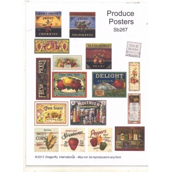 Posters - Produce Sign Sheet  SB267 dollhouse Dragonfly 1/12 scale miniature