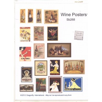 Posters - Wine Sign Sheet  SB268 dollhouse Dragonfly 1/12 scale miniature