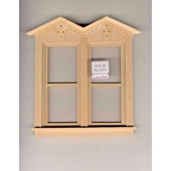 Victorian Side by Side double Window  dollhouse miniature  71026 1pc 1/12 scale