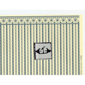 Half Scale  Wallpaper Regency Stripe blue JMS01 Jackson's Miniatures dollhouse