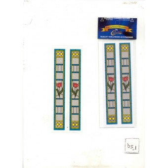 Simulated Stain Glass #SLIM10 dollhouse miniature door insert 1/12 scace