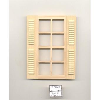 """Window w/ Shutters dollhouse miniature 1:12 scale wood.5003 1"""""""