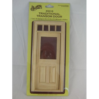 Door - Traditional Transom - Dollhouse miniature wood #6018 1/12 scale