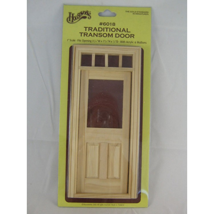 Door Traditional Transom Dollhouse Miniature Wood 6018 1 12 Scale