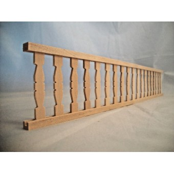 "Railing w/ Flat Balusters - 2"" x 12""long - porch dollhouse 1/12 scale - CLA70248"