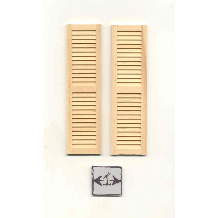 Dollhouse Miniature Shutters Three Panel 1:12 Scale Package of 2