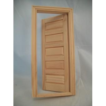 Door - 5-Panel Interior Dollhouse miniature wooden #6021  1/12 Scale Houseworks