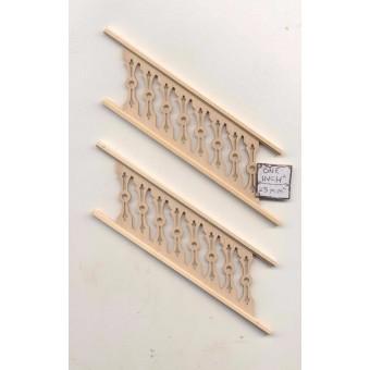 Railing f/ Step - Assembled NE1206  2pc  unfinished wood 1/12 scale PBL-2S