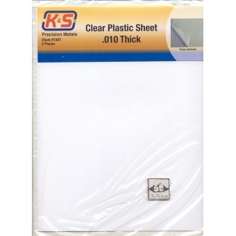 "Clear Plastic Sheet .010"" thick plastic for dollhouse windows K&S #1307 2pcs"