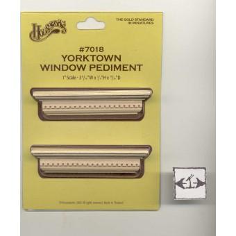 Window Pediment - Yorktown - dollhouse 1:12 scale #7018 2pcs Houseworks wood