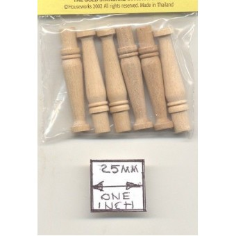Urn Porch Spindles Balusters 7213 dollhouse wooden miniature 6pc 1/12 scale