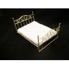 "Double ""Brass"" Bed dollhouse miniature furniture 1/12 scale T5928 metal"