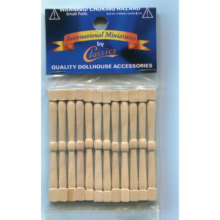 Spindles Balusters CLA70201 dollhouse 1//12 scale  wooden miniatures 12pc