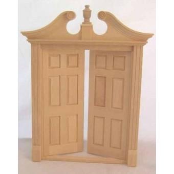 Double Deerfield  Door Dollhouse miniature wood   #6034 Houseworks 1/12 scale