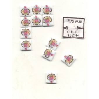 Tiles - Dresden Rose Porcelain - miniature 1.791/1 Reutter 1/12 scale 12pcs/pk