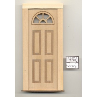 Door - Half Circle Top  - 2303 wooden dollhouse miniature 1:12 scale Made in USA