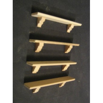 "Shelf shelves  Dollhouse miniature 3/4"" x 4"" trim 4pcs.1/12 scale unfinished"