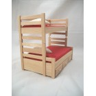 "Bunk Bed w/ Trundle dollhouse miniature furniture 1/12"" scale  T4171 oak finish"