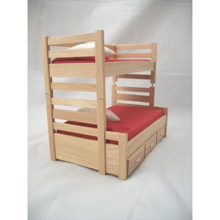Bunk Bed W Trundle Dollhouse Miniature Furniture 1 12 Scale T4171