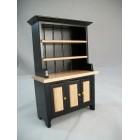 Black & Oak Kitchen Hutch T5975  miniature dollhouse furniture wood 1/12 scale