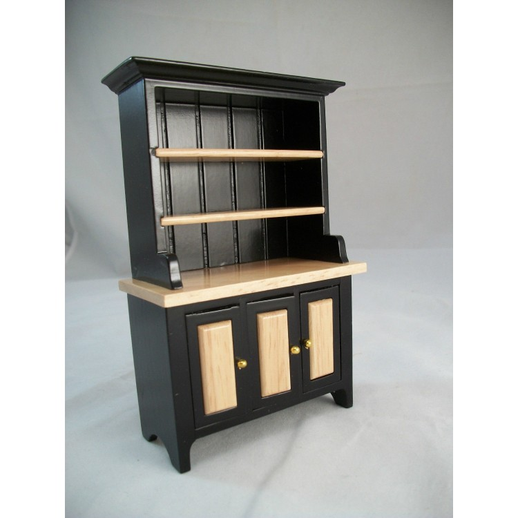 Black & Oak Kitchen Hutch T5975 miniature dollhouse ...
